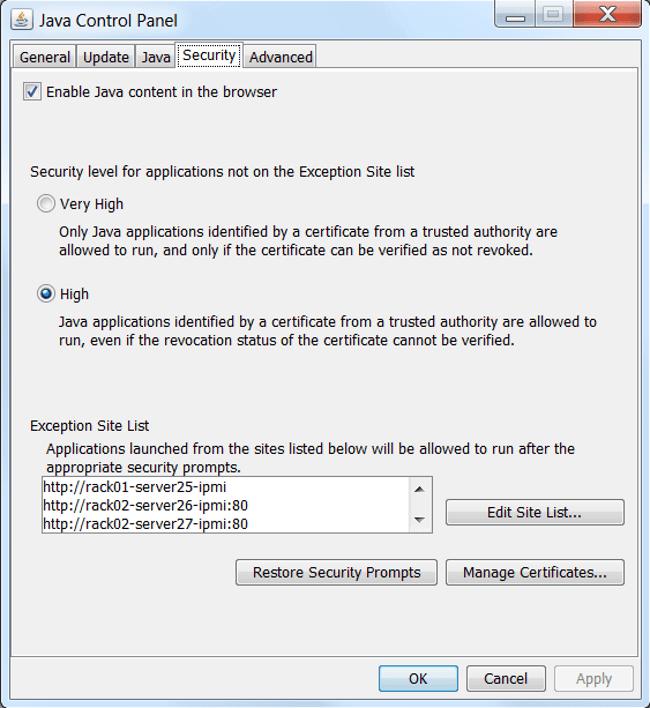панель настроек Java