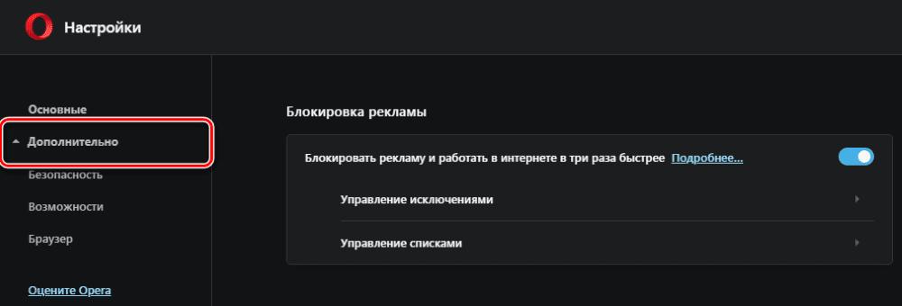 раздел безопасности в браузере Опера