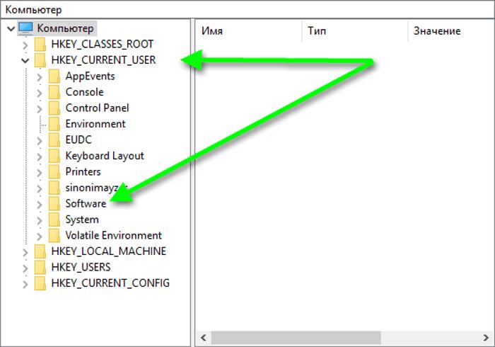 раздел Software с папкой JavaSoft