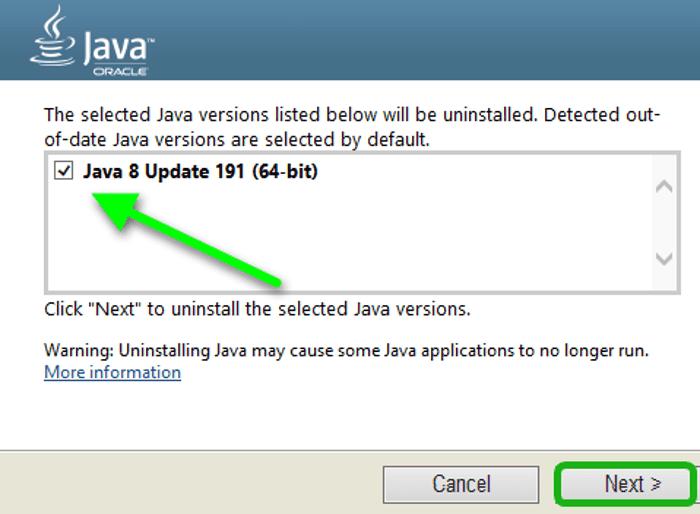 выбор версии Java