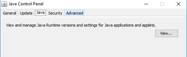 панель управления Java