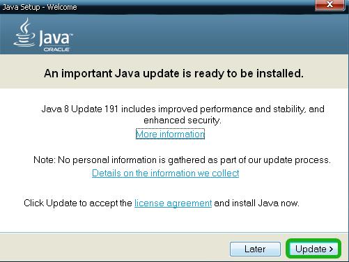 автоматическое обновление Java