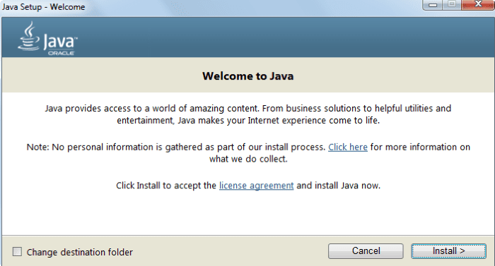 запуск установки Java