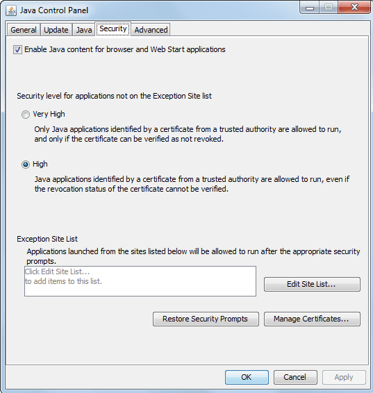 отключение отображения Java-контента в браузере
