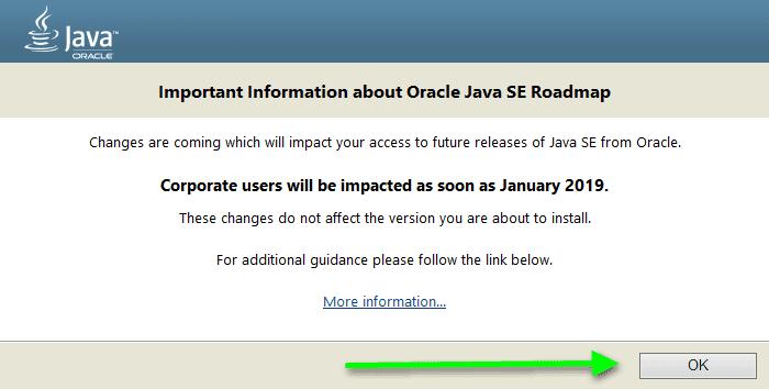 сообщение при установке Java