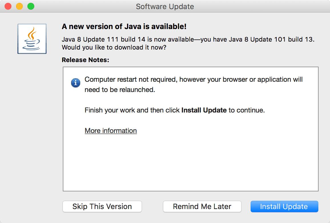 автоматическое обновление Java на MacOS